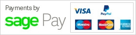 Payments by Sage Pay: Visa, Maestro, MasterCard, American Express, PayPal