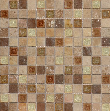 Chicago Beige Brown Mix Marble And Glass Mosaic PSC-03